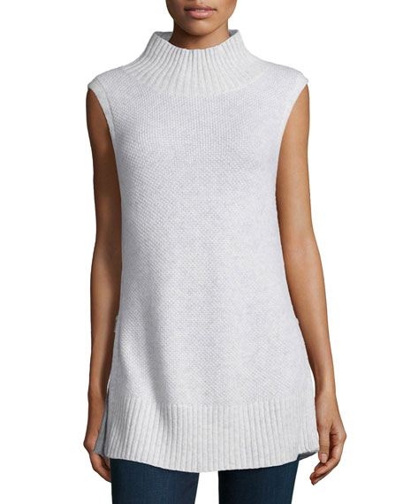 Sleeveless Cashmere Turtleneck W/Zip Detail