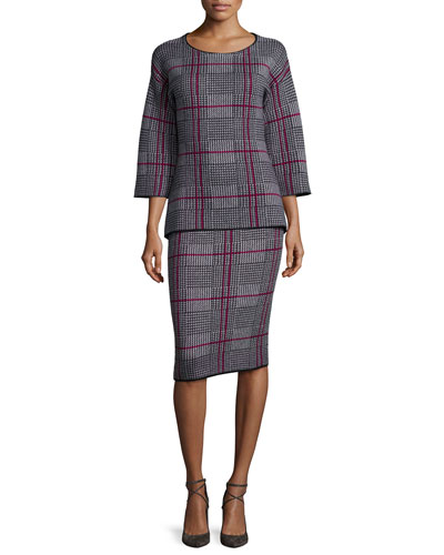 Plaid Cashmere Knit Top & Skirt