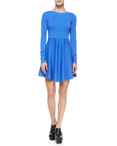 Brinley Long-Sleeve Fit-and-Flare Mini Dress, Cobalt