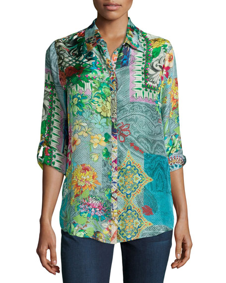 Johnny Was Collection Brightwood Printed Blouse