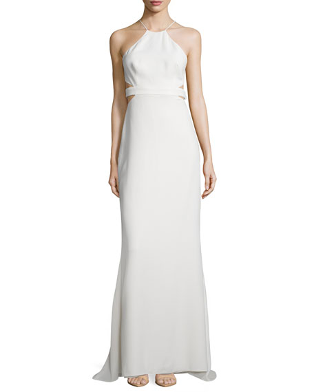 Halston Heritage Halter Back-Cutout Cocktail Gown, Bone