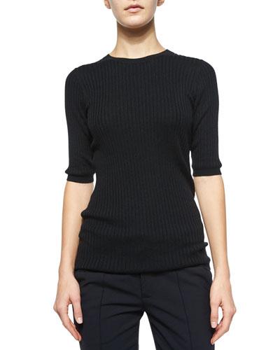 Skinny Ribbed Short-Sleeve Top
