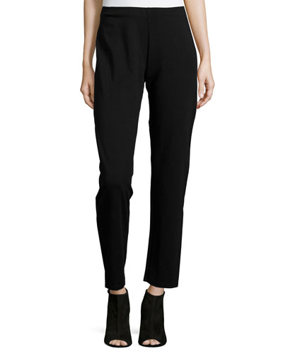 Heavyweight Rayon Skinny Pants, Black