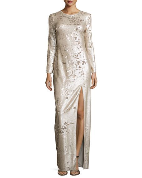 Halston Heritage Long-Sleeve Sequined Column Gown