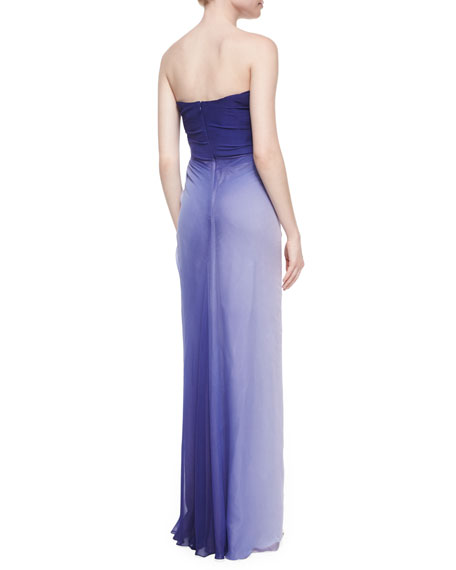 Strapless Ombre Side-Ruffled Gown