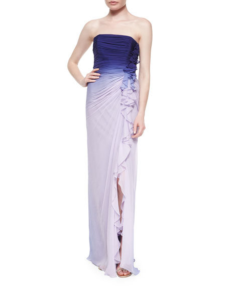 Melinda Eng Strapless Ombre Side-Ruffled Gown