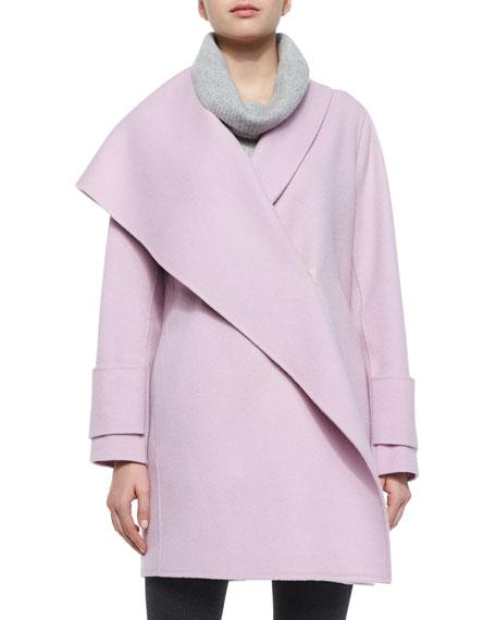 Asymmetric Draped Wool Coat