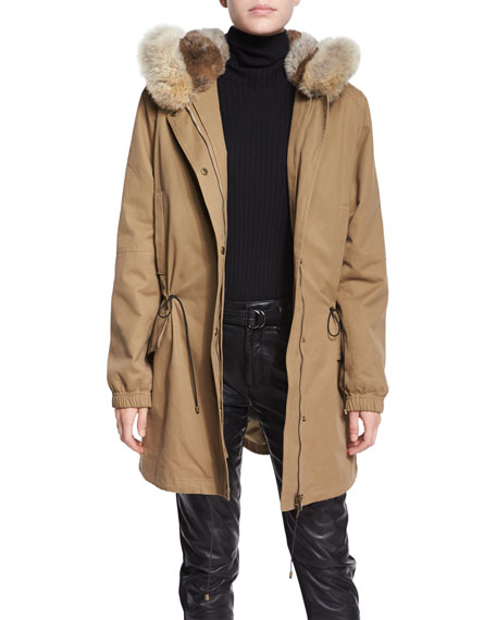 Vince Fur-Lined Parka Coat, Brass Khaki