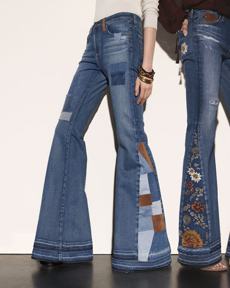 AG Angel High-Waist Flare Jeans, 11 Years Patchwork