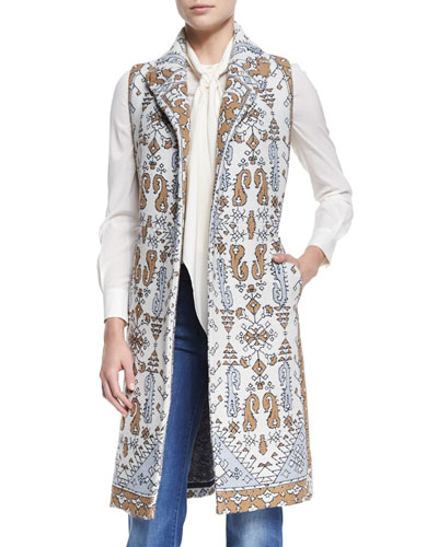 Printed Jacquard Long Vest