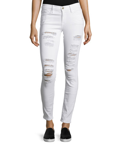 Le Color Rip Skinny Distressed Jeans, Winter White
