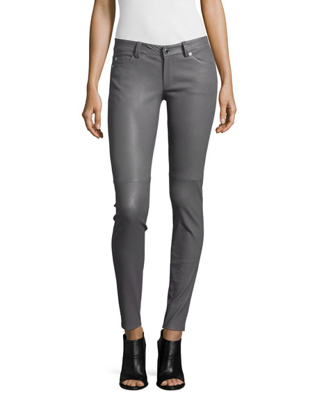 MICHAEL Michael Kors Lambskin Leather Jeans, Gunmetal