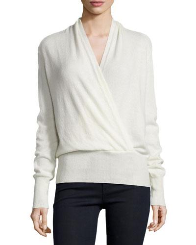 Faux-Wrap Cashmere Sweater