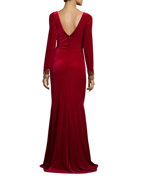Image 3 of 3: Long-Sleeve Ruched Velvet Gown