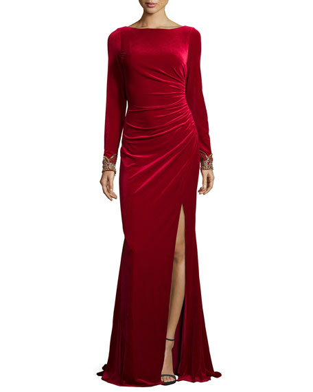 Image 1 of 3: Long-Sleeve Ruched Velvet Gown