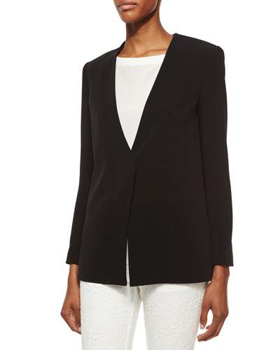Cady Long Cross-Back Blazer, Black