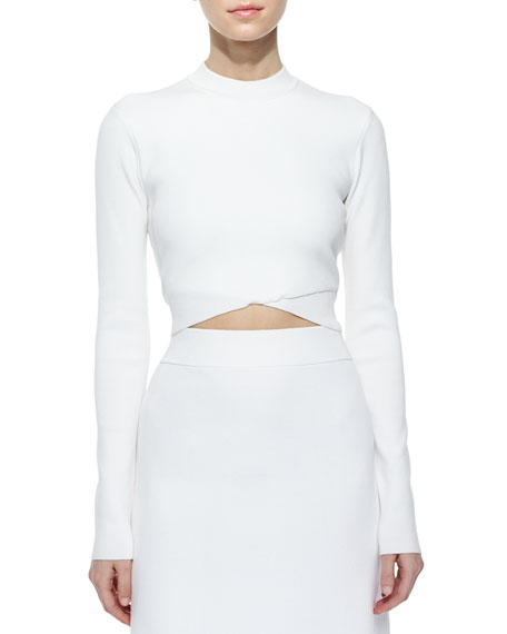 A.L.C. Ford Crossover Cropped Sweater, White