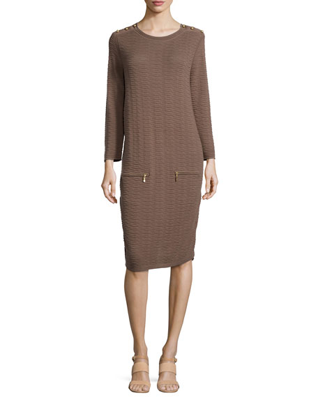 Sand-Stitched Zip-Pocket Shift Dress, Petite
