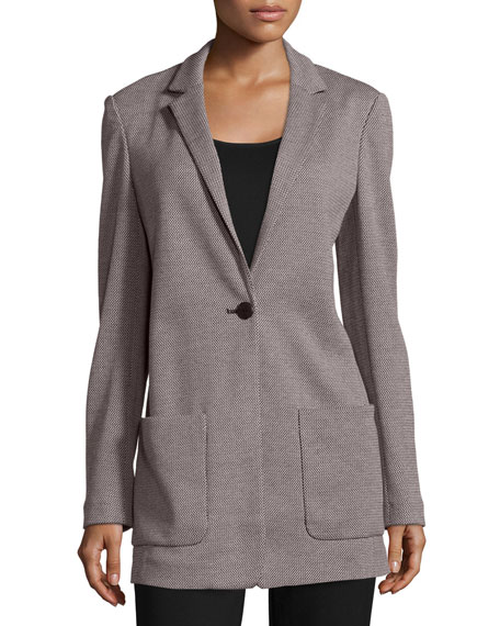 Joan Vass Birdseye Boyfriend Jacket, Cotton Interlock Tunic/Tank