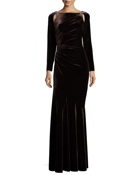 Long-Sleeve Velvet Mermaid Gown