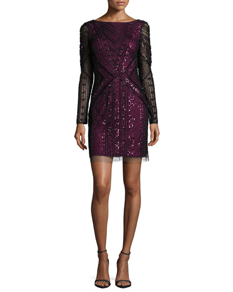 Aidan MattoxLong-Sleeve Sequined/Beaded Sheath Cocktail Dress