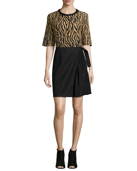3.1 Phillip Lim Tiger-Print Combo Wrap Dress, Camel/Black