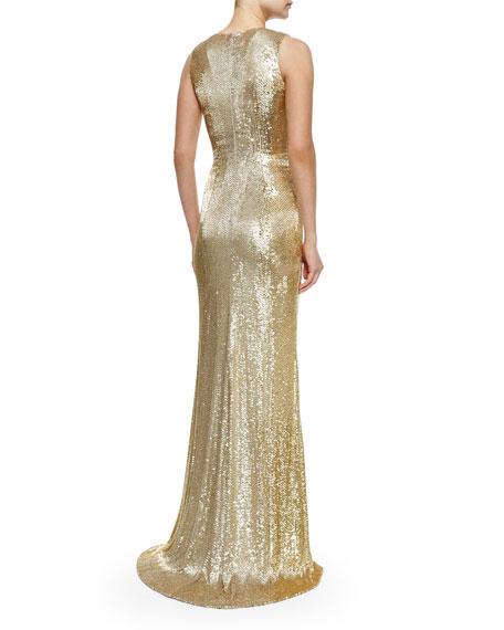 Sleeveless V-Neck Beaded Gown, Gold