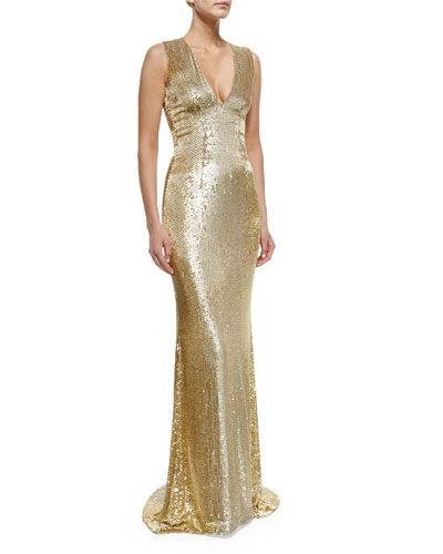 Sleeveless V-Neck Beaded Gown, Gold