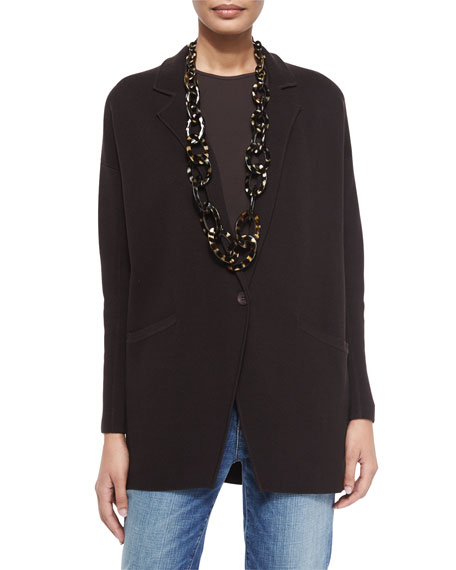 Eileen Fisher Notched-Collar Interlock One-Button Jacket, Chocolate