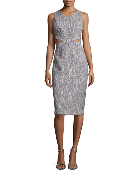 Jonathan Simkhai Sleeveless Printed Cutout Sheath Dress,