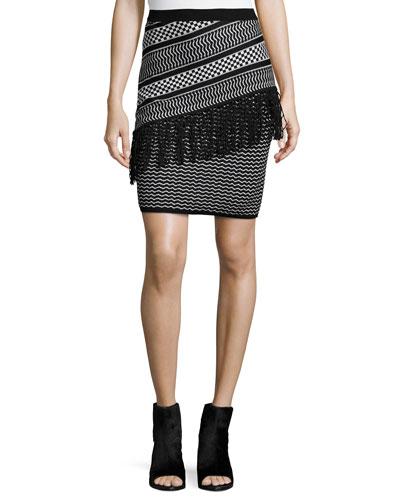 Brionna Combo Woven Skirt, Black