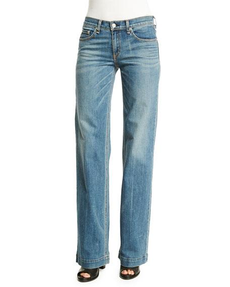 rag & bone/JEAN Mid-Rise Wide-Leg Jeans, Brick Lane