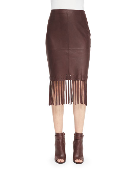 Jaxson Leather Skirt W/Fringe, Brown
