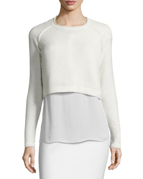 Elie Tahari Giada Cropped Sweater & Silk Blouse