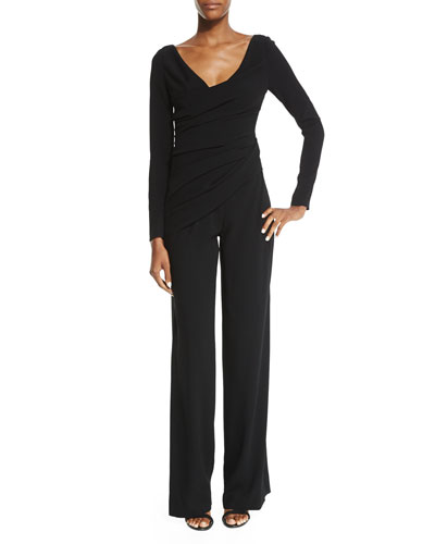 Hilden Long-Sleeve Faux-Wrap Jumpsuit, Black