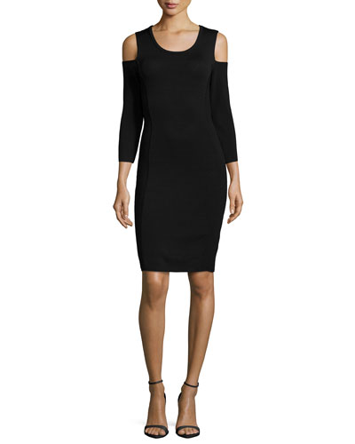 Open-Shoulder Knit Sheath Dress