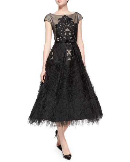 Embroidered Tea-Length Feather Dress, Black