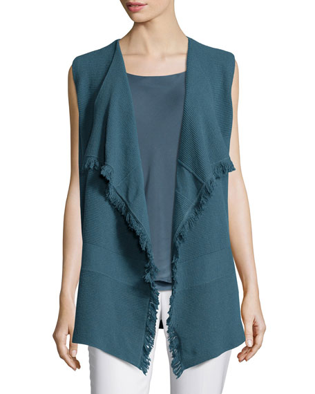 Lafayette 148 New York Mixed Ribbed Cascade Vest