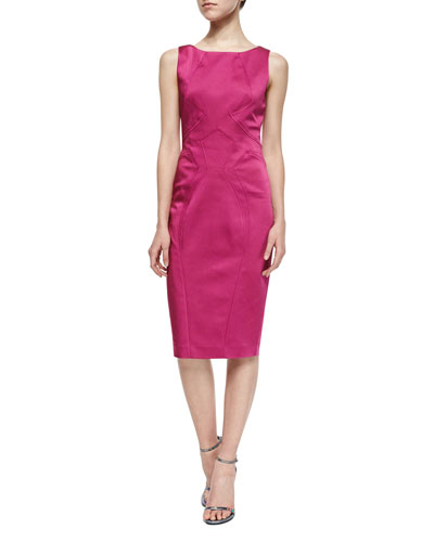 Lydia Sleeveless Satin Sheath Dress, Magnolia
