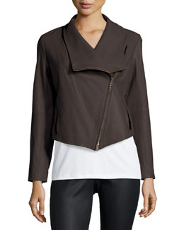 Fisher Project Leather Draped Jacket