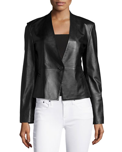 Leather One-Button Jacket