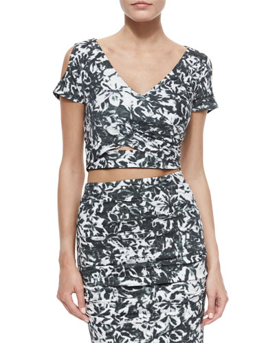 Floral-Print V-Neck Cold-Shoulder Crop Top, Black/White