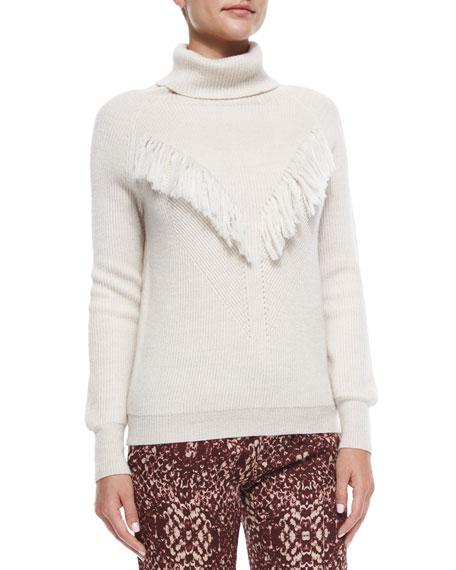Haute Hippie Long-Sleeve Fringe-Detail Sweater, Oatmeal