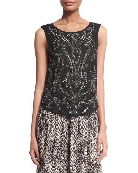 Haute Hippie Paisley Embellished Silk Tank, Black