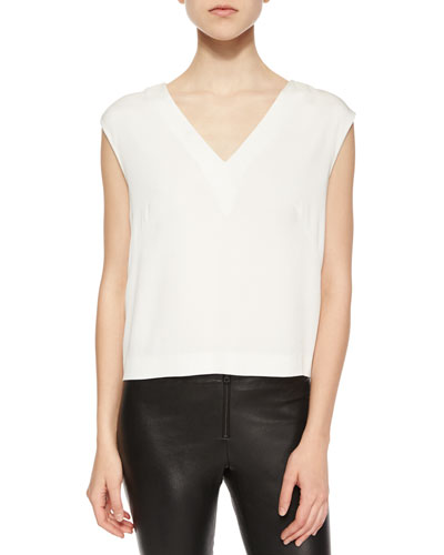 Sleeveless Back Cutout Crepe Top