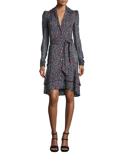 Tweed-Print Tie-Waist Long-Sleeve Dress, Multicolor