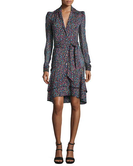Diane von FurstenbergTweed-Print Tie-Waist Long-Sleeve Dress,