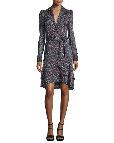 Diane von Furstenberg Tweed-Print Tie-Waist Long-Sleeve Dress, Multicolor