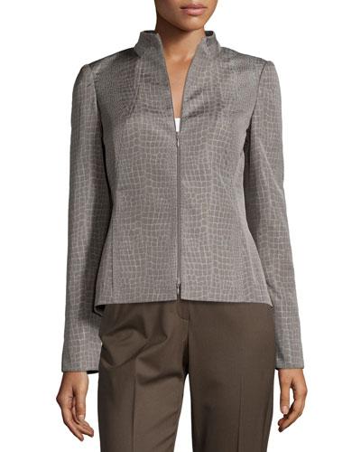 Laura Zip-Front Croc-Print Jacket