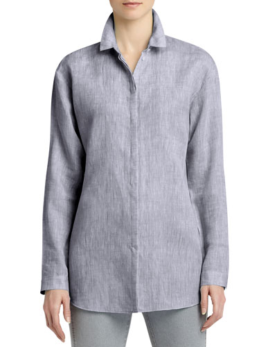 Sabira Linen Long-Sleeve Blouse